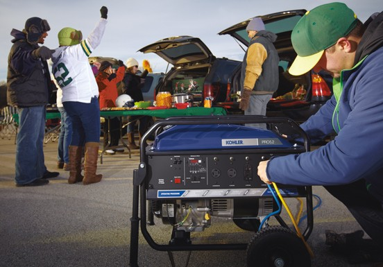 Tailgating party with adults and KOHLER generator