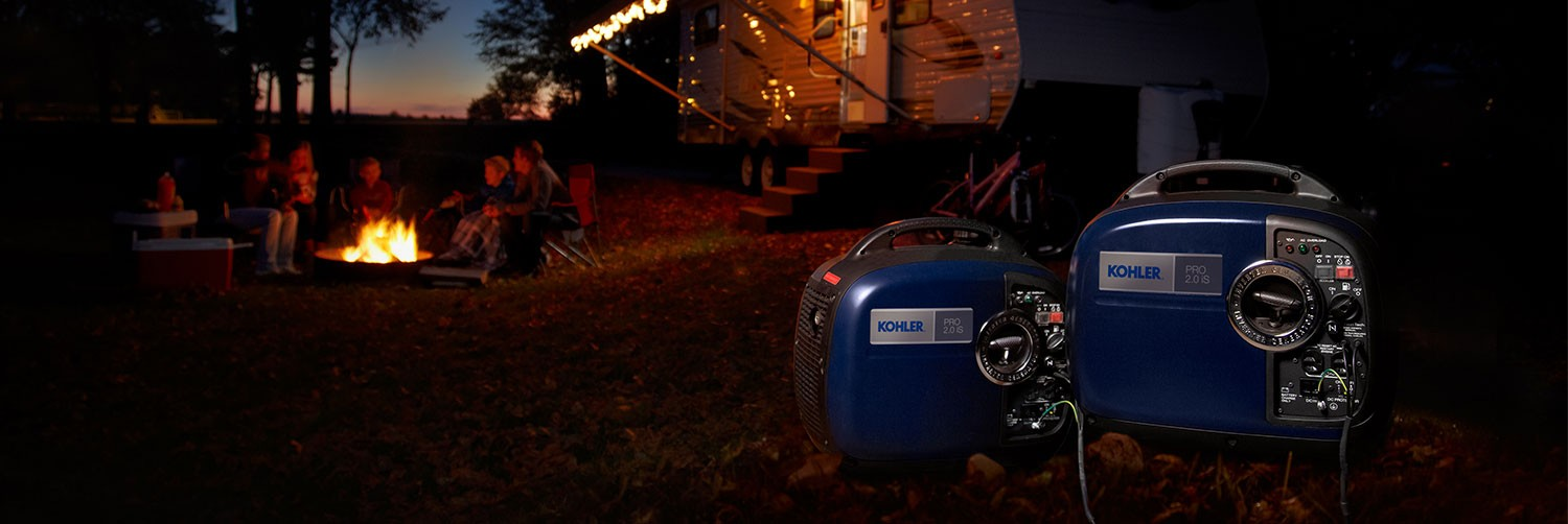 Convenience store at night, full power with kohler generator