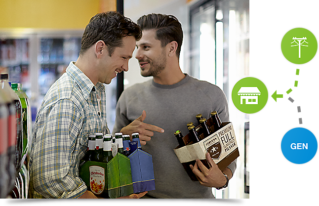 Two friends grab some beverages from a convenience store refrigerator