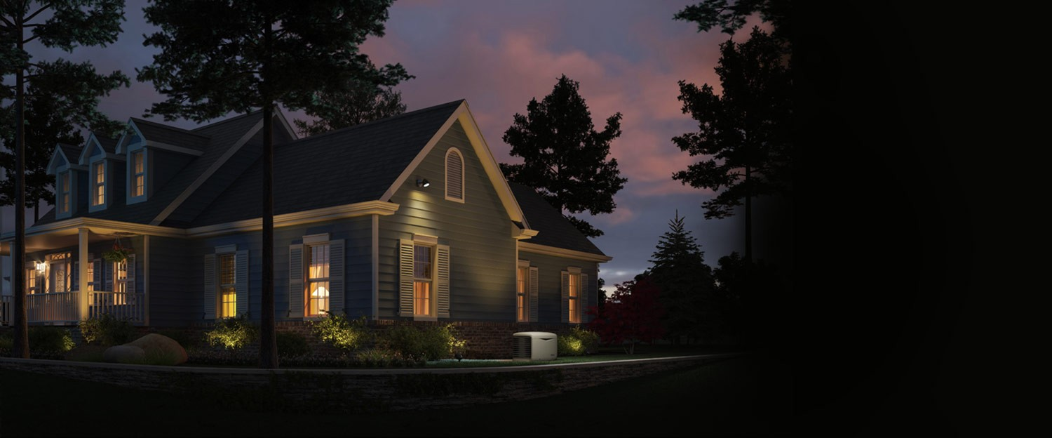 A beautiful home lights up at dusk with full power from utility
