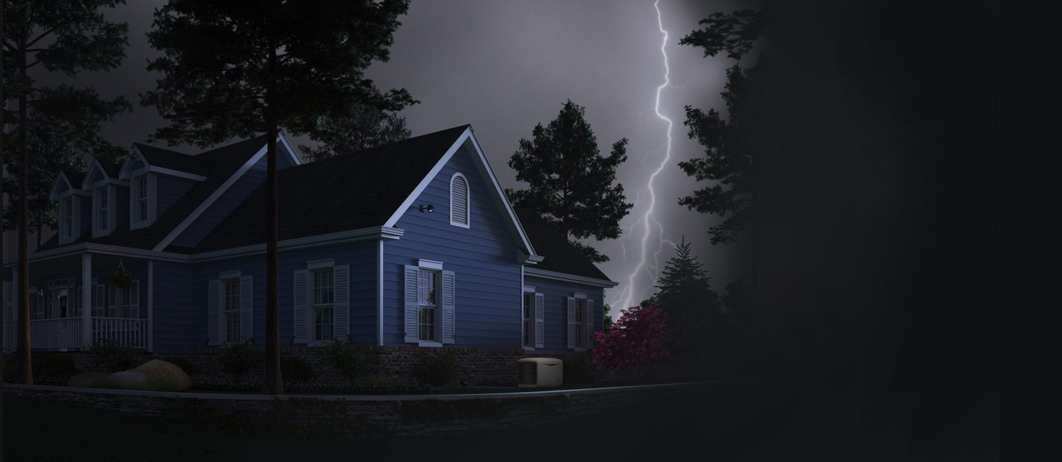 A beautiful home loses power during a storm