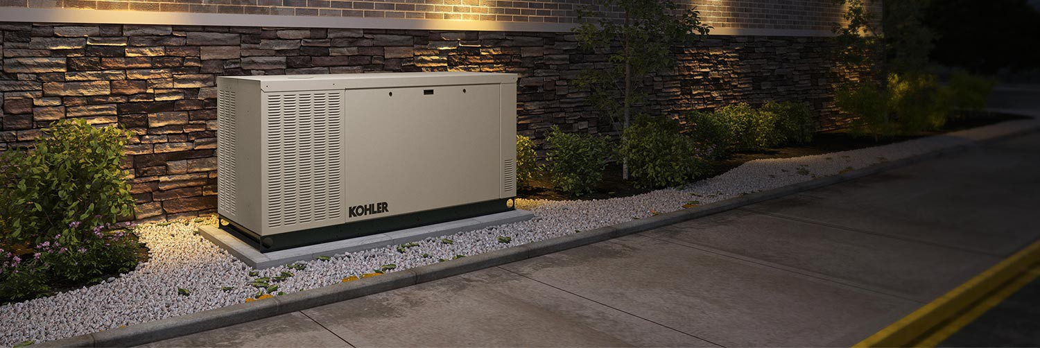 Closeup of a Kohler generator installed at a convenience store
