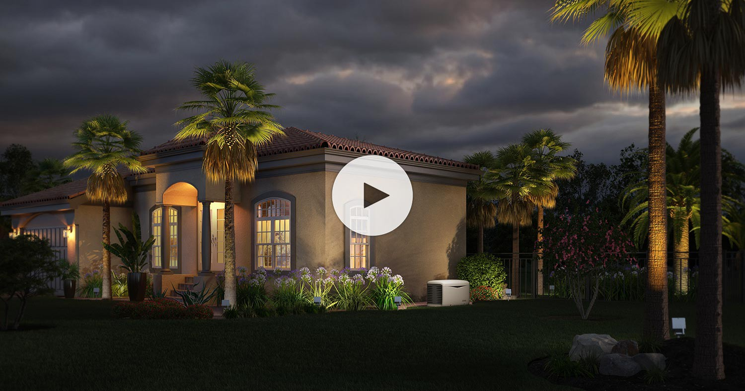 A beautiful floridian home is powered during a storm by a KOHLER generator