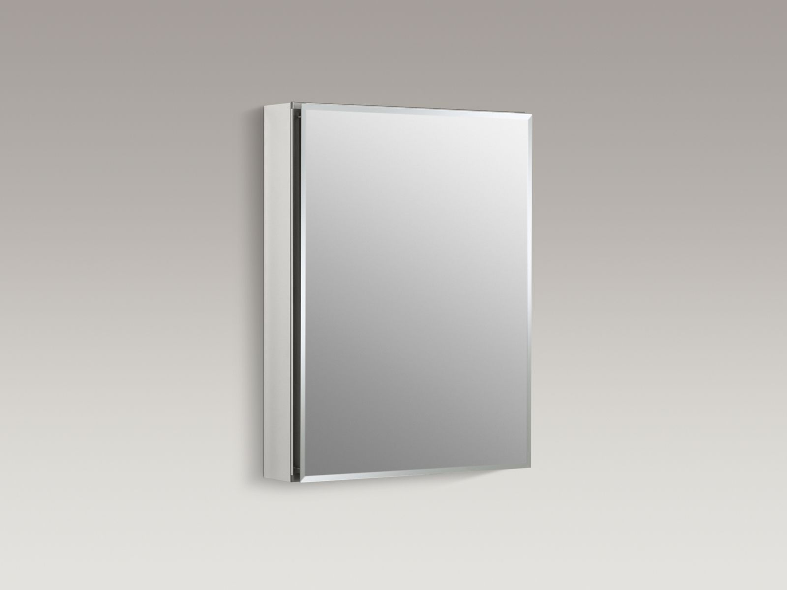 "20"" W x 26"" H aluminum single-door medicine cabinet with square mirrored door"