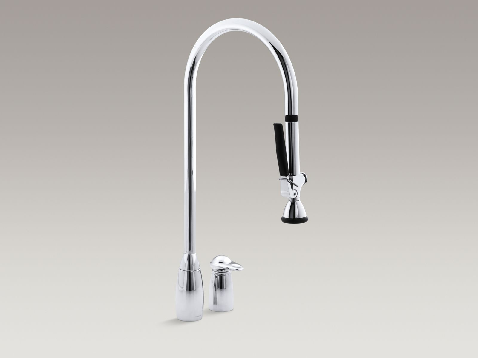 "ProMaster® two-hole kitchen sink faucet with overhead 27-1/2"" spout with pull-out handspray and lever handle"
