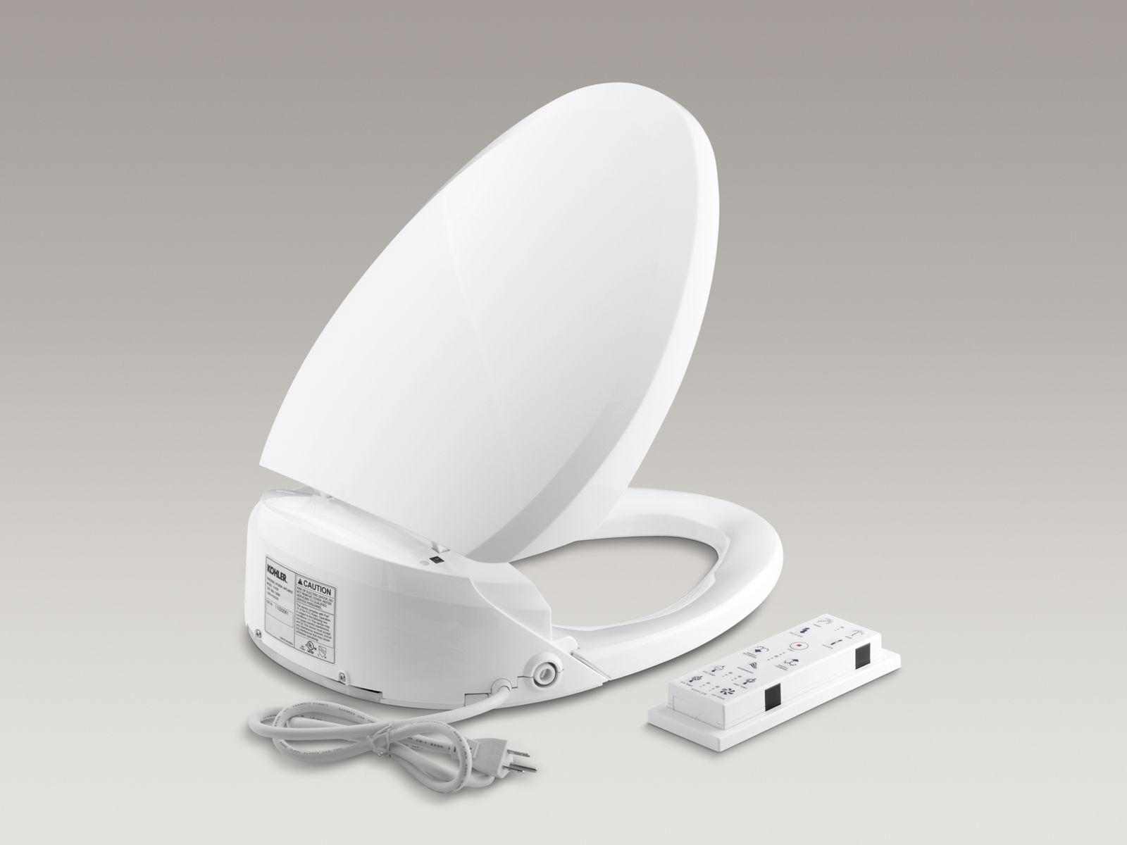 C3®-201 elongated closed-front toilet seat with bidet functionality, in-line heater and remote controls