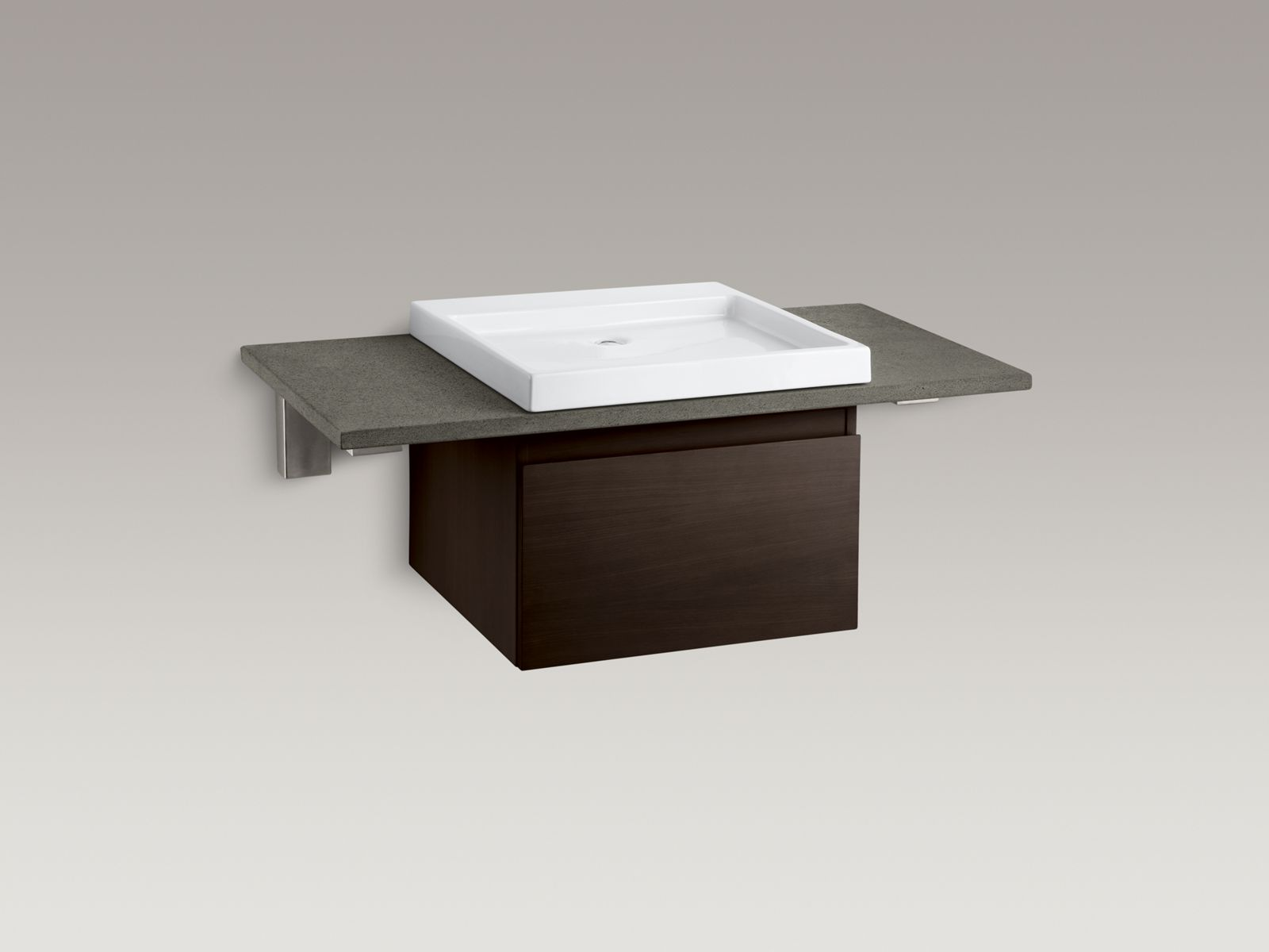 Shown with Purist® vanity K-3081-F5, Wading Pool® lavatory K-2314-0, and countertop brackets K-9667-NA and K-9676-NA, not included.