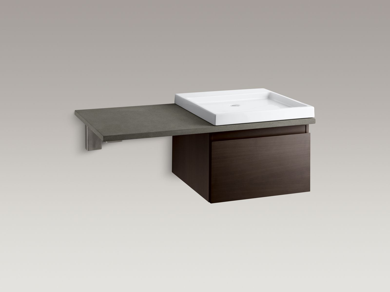 Shown with Purist®  vanity K-3081-F4, Wading Pool® lavatory K-2314-0, and countertop bracket K-9676-NA and standard pop-up drain, not included.