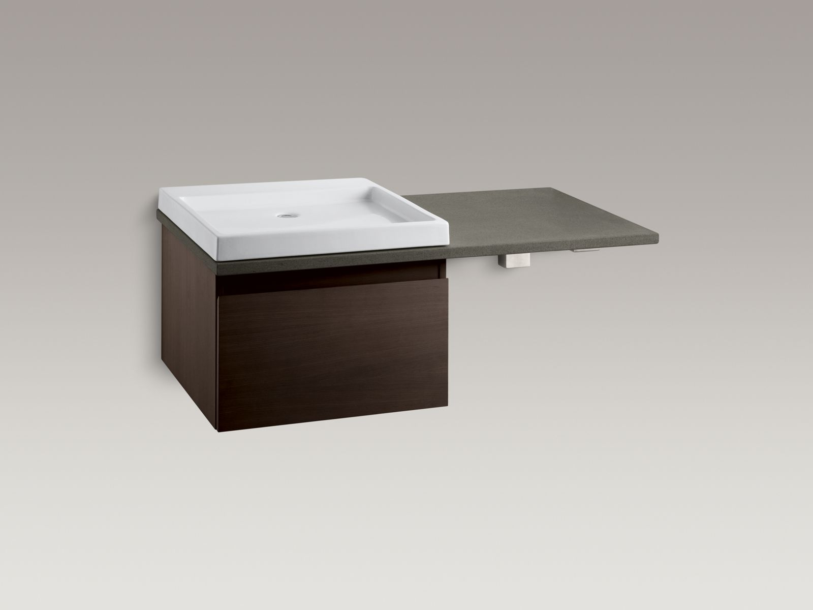 Shown with Purist®  vanity K-3081-F4, Wading Pool® lavatory K-2314-0, countertop bracket K-9667-NA and standard pop-up drain, not included.