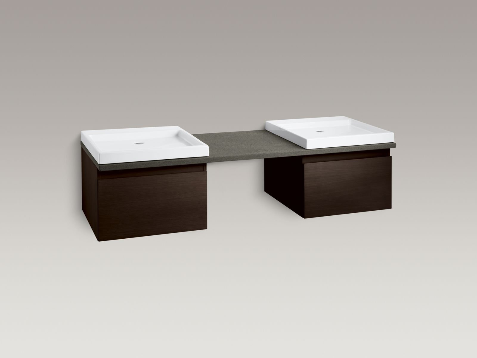 Shown with Purist® vanity K-3081-F5, Wading Pool® lavatory K-2314-0 and standard pop-up drain, not included.