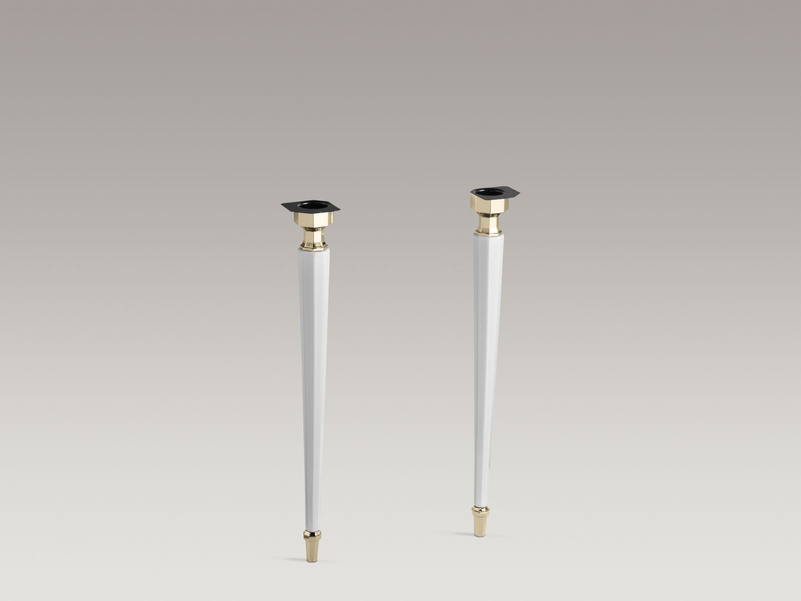 Kathryn® octagonal fireclay/French Gold tapered brass table legs