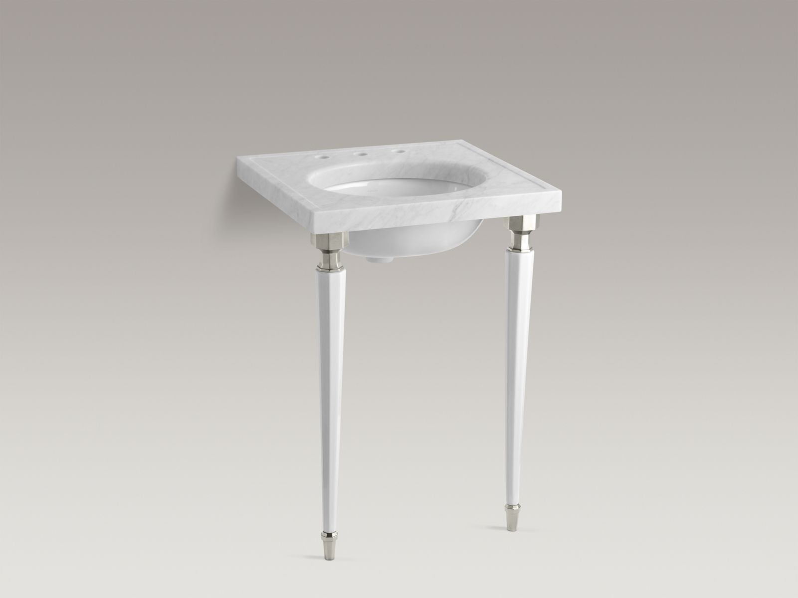 Kathryn® octagonal fireclay/Brushed Nickel tapered brass table legs