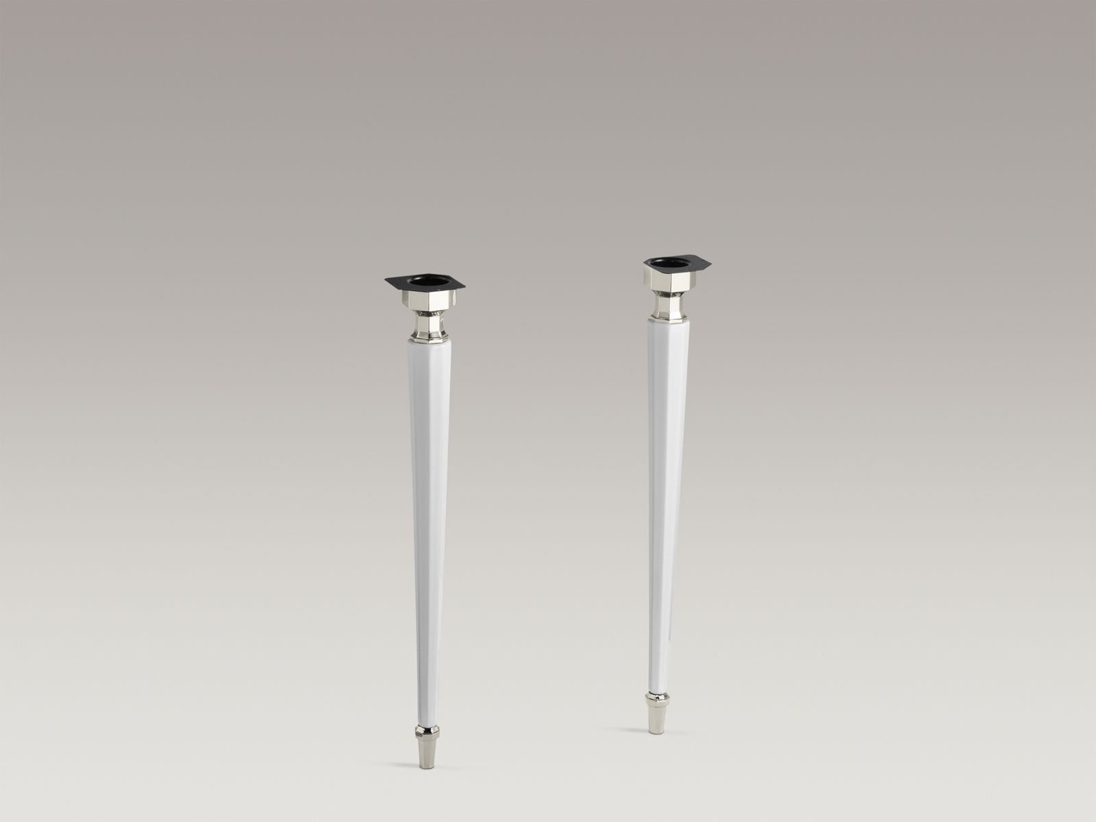 Kathryn® octagonal fireclay/Polished Nickel tapered brass table legs