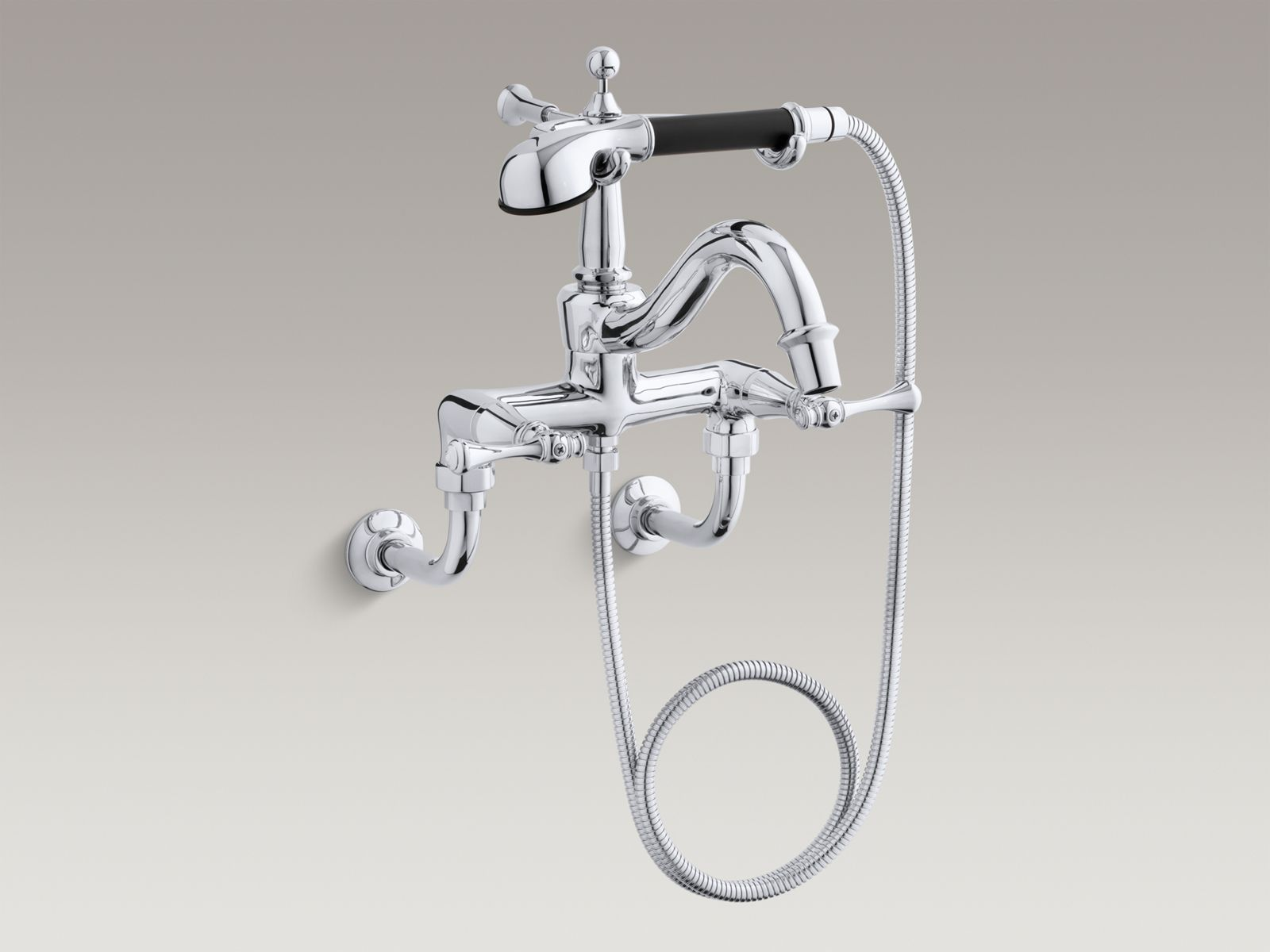 Revival® bath faucet with diverter spout, traditional lever handles and  handshower