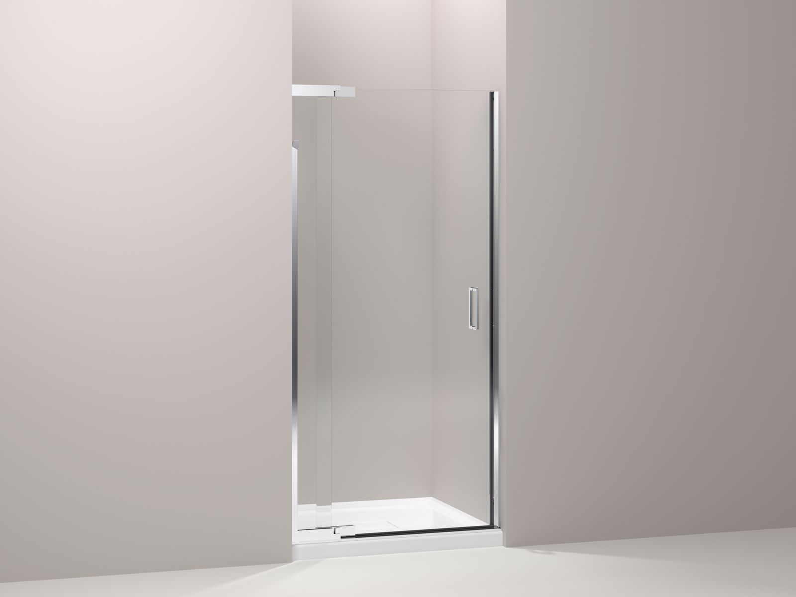 "Purist® frameless pivot shower door with 1/4"" thick Crystal Clear glass, 30"" - 33"" x 72"""