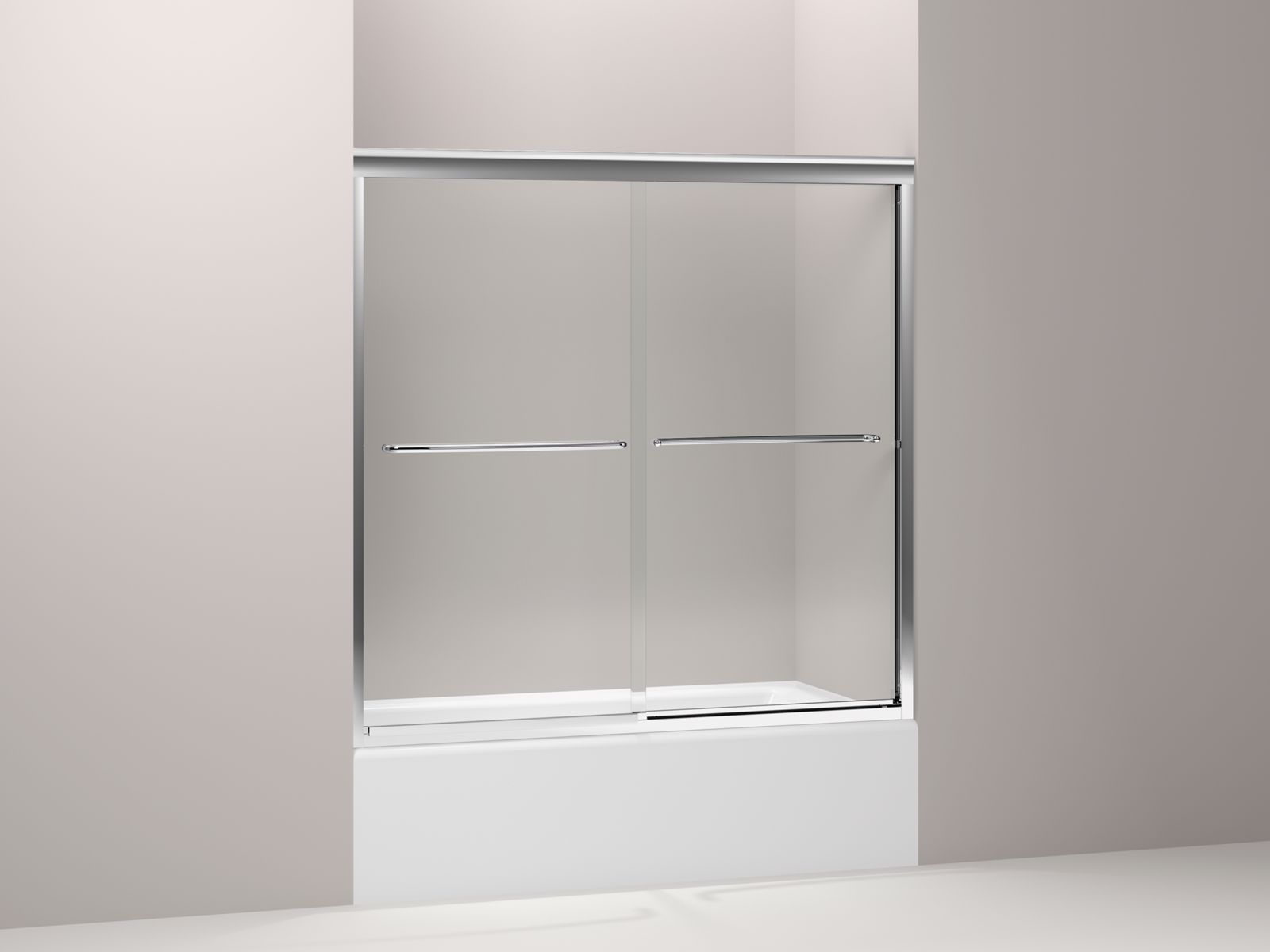 "Fluence® frameless sliding bath door with Crystal Clear glass, 59-5/8"" x 58-5/16"""