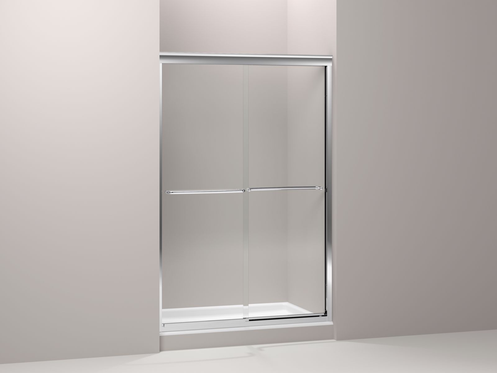 "Fluence® frameless sliding shower door with Crystal Clear glass, 49"" - 52"" x 76"""