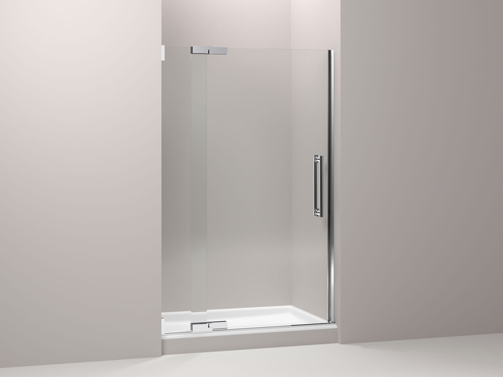 "Purist® frameless pivot shower door with 3/8"" thick Crystal Clear glass, 45-1/4"" - 47-3/4"" x 72-1/4"""