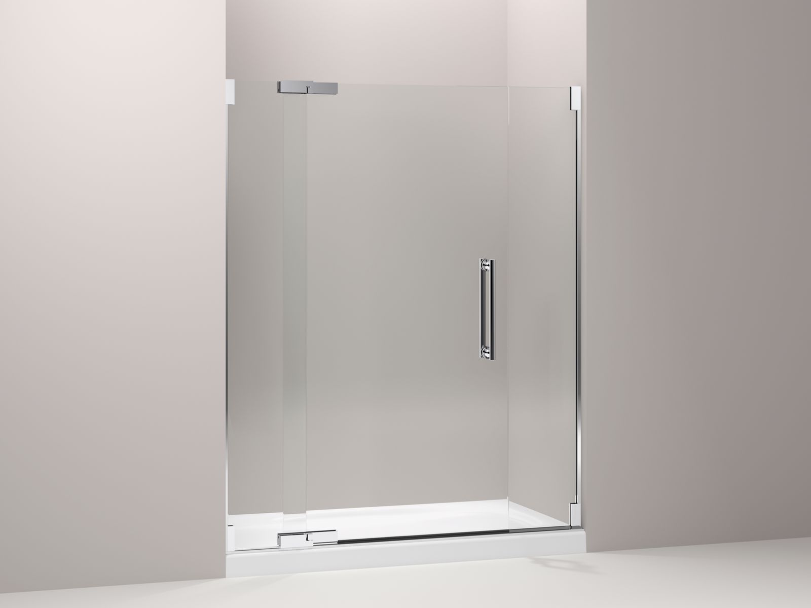 "Purist® frameless pivot shower door with 3/8"" thick Crystal Clear glass, 57-1/4"" - 59-3/4"" x 72-1/4"""