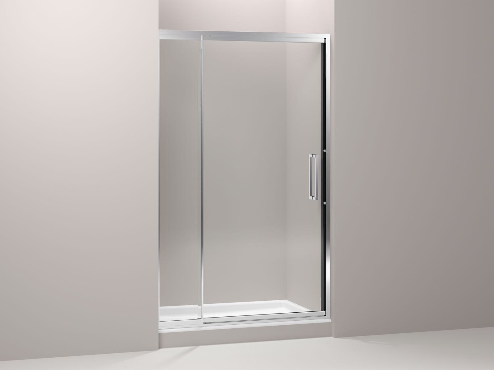 "Lattis® semi-frameless pivot shower door with 1/4"" thick Crystal Clear glass, 45"" - 48"" x 76"""