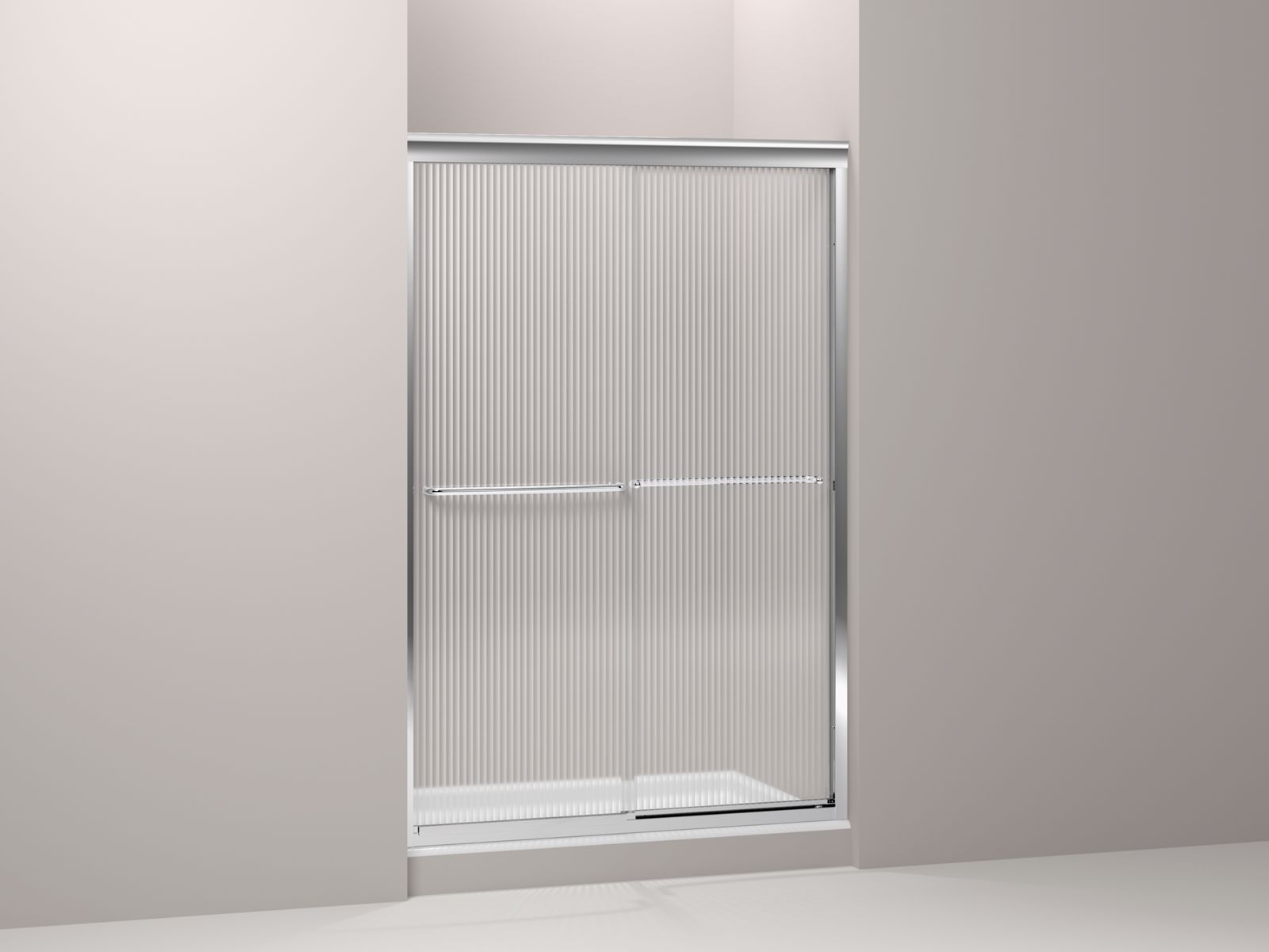 "Fluence® frameless sliding shower door with Falling Lines glass, 44-5/8"" - 47-5/8"" x 70-5/16"""