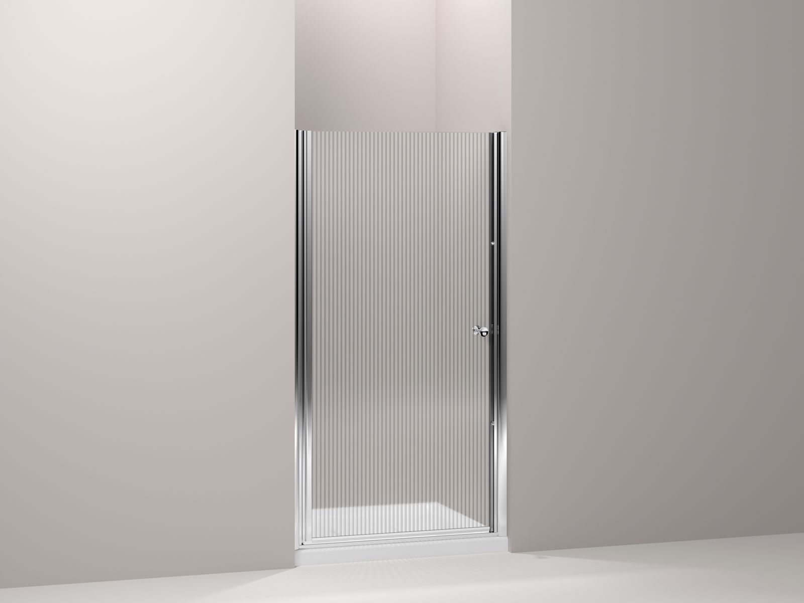 "Fluence® frameless pivot shower door with Falling Lines glass, 37-1/2"" - 39"" x 65-1/2"""
