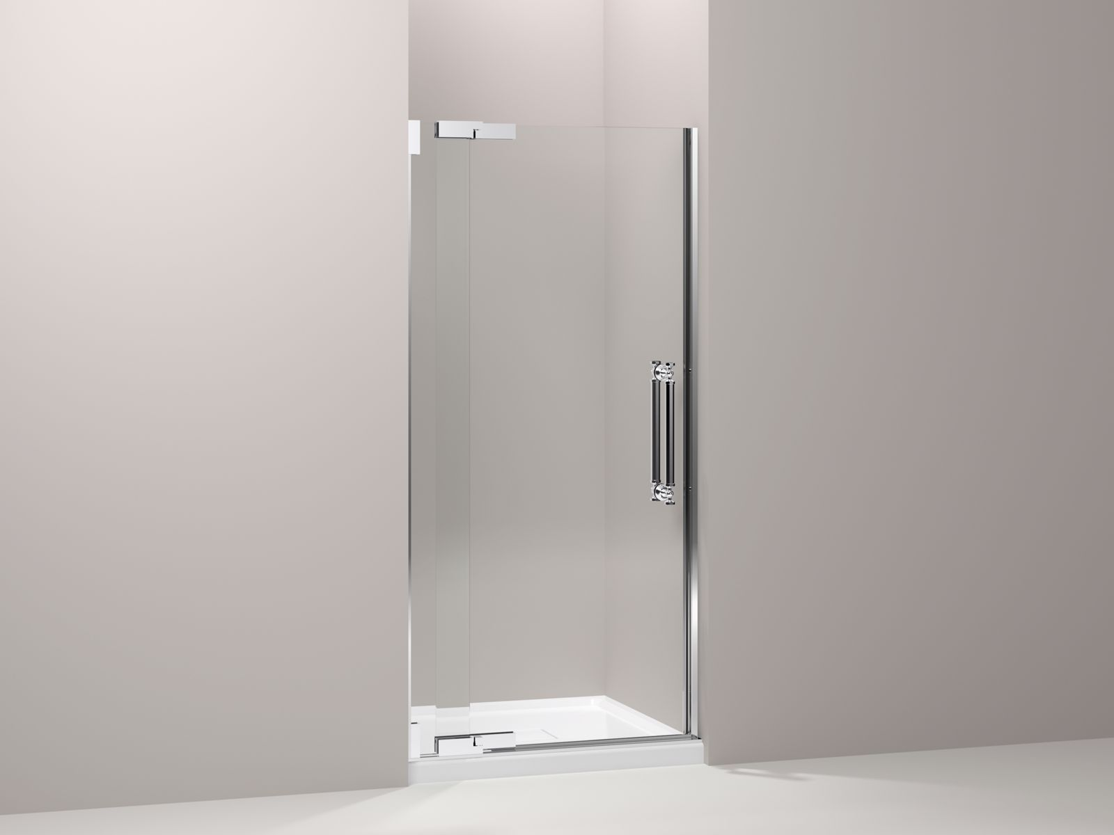 "Pinstripe® frameless pivot shower door with 1/2"" Crystal Clear glass, 36-1/4"" - 38-3/4"" x 72-1/4"""