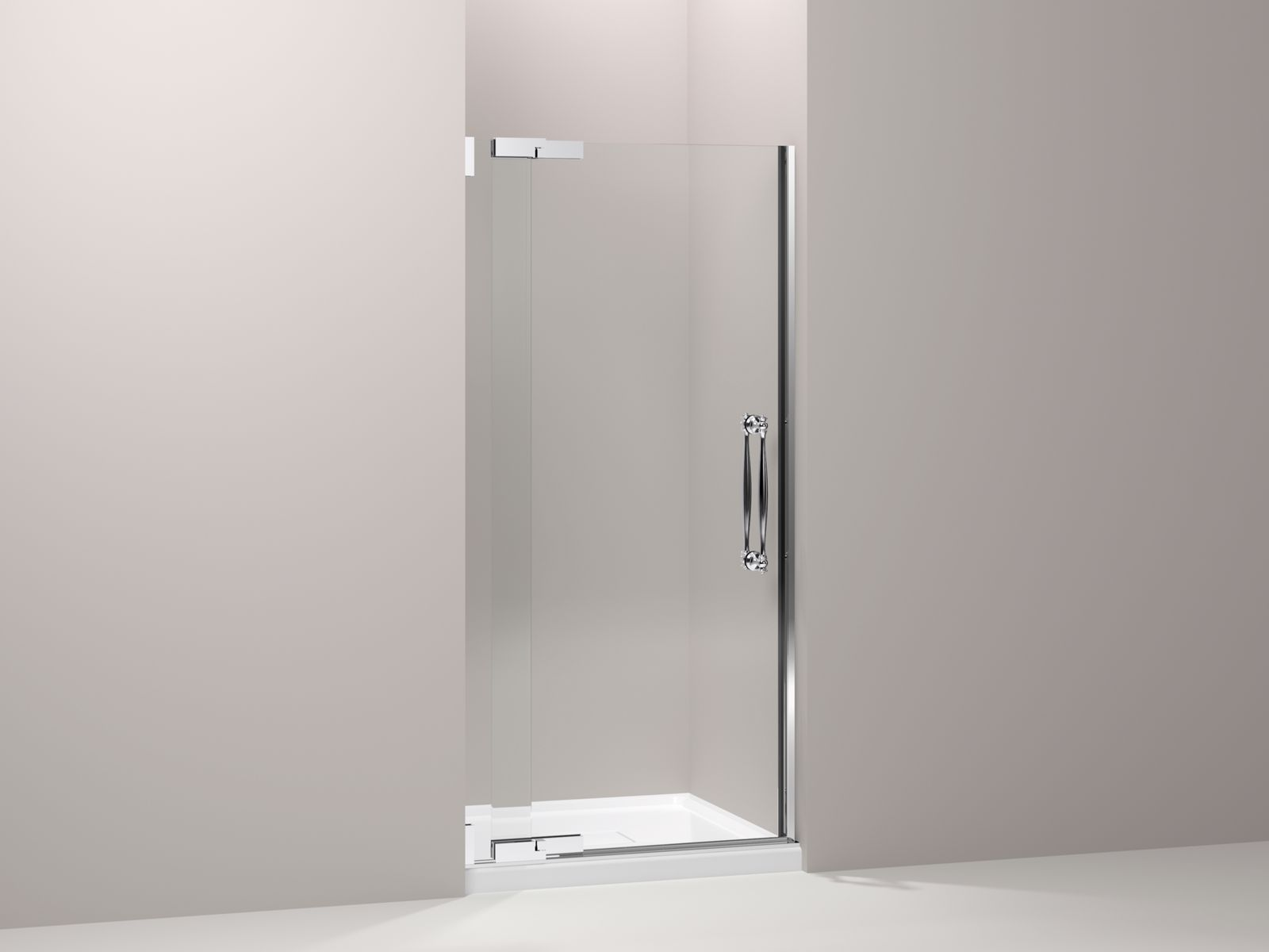 "Finial® frameless pivot shower door with 1/2"" thick Crystal Clear glass, 33-1/4"" - 35-3/4"" x 72-1/4"""