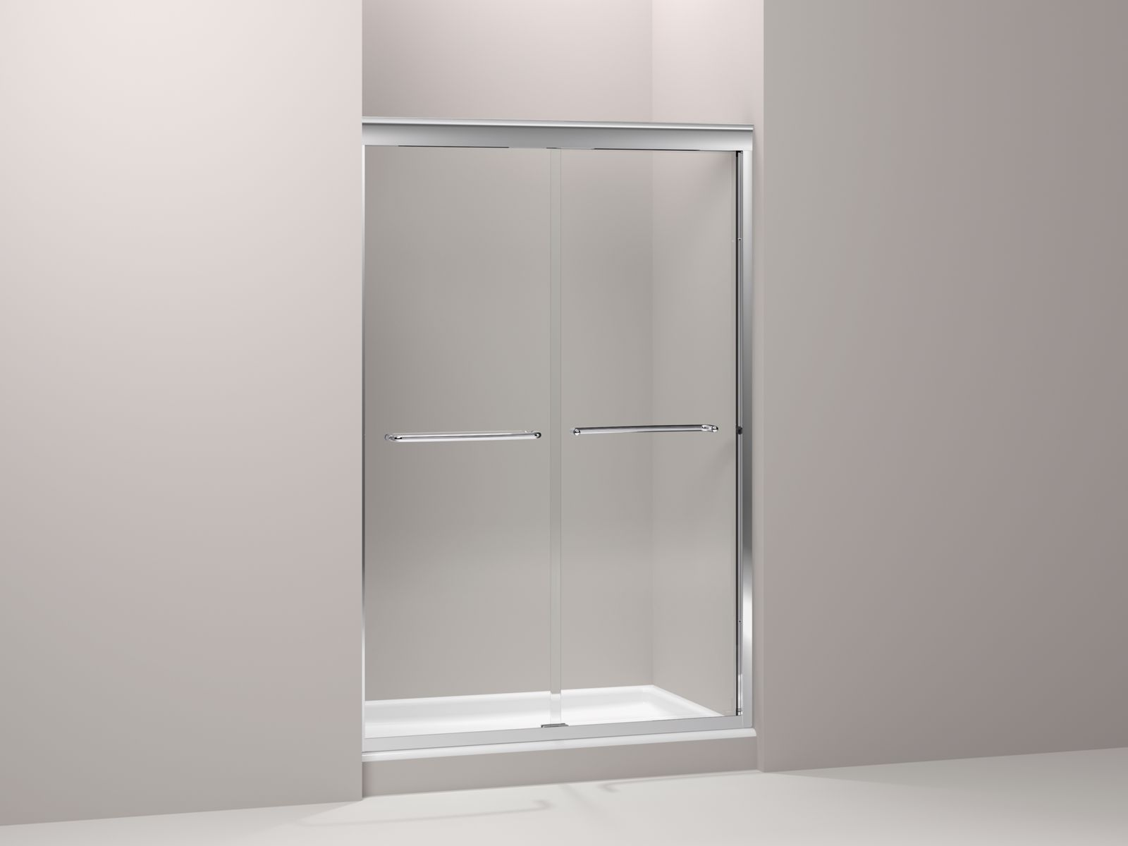 "Fluence® frameless sliding shower door with 3/8"" thick Crystal Clear glass, 44-5/8"" - 47-5/8"" x 70-5/16"""