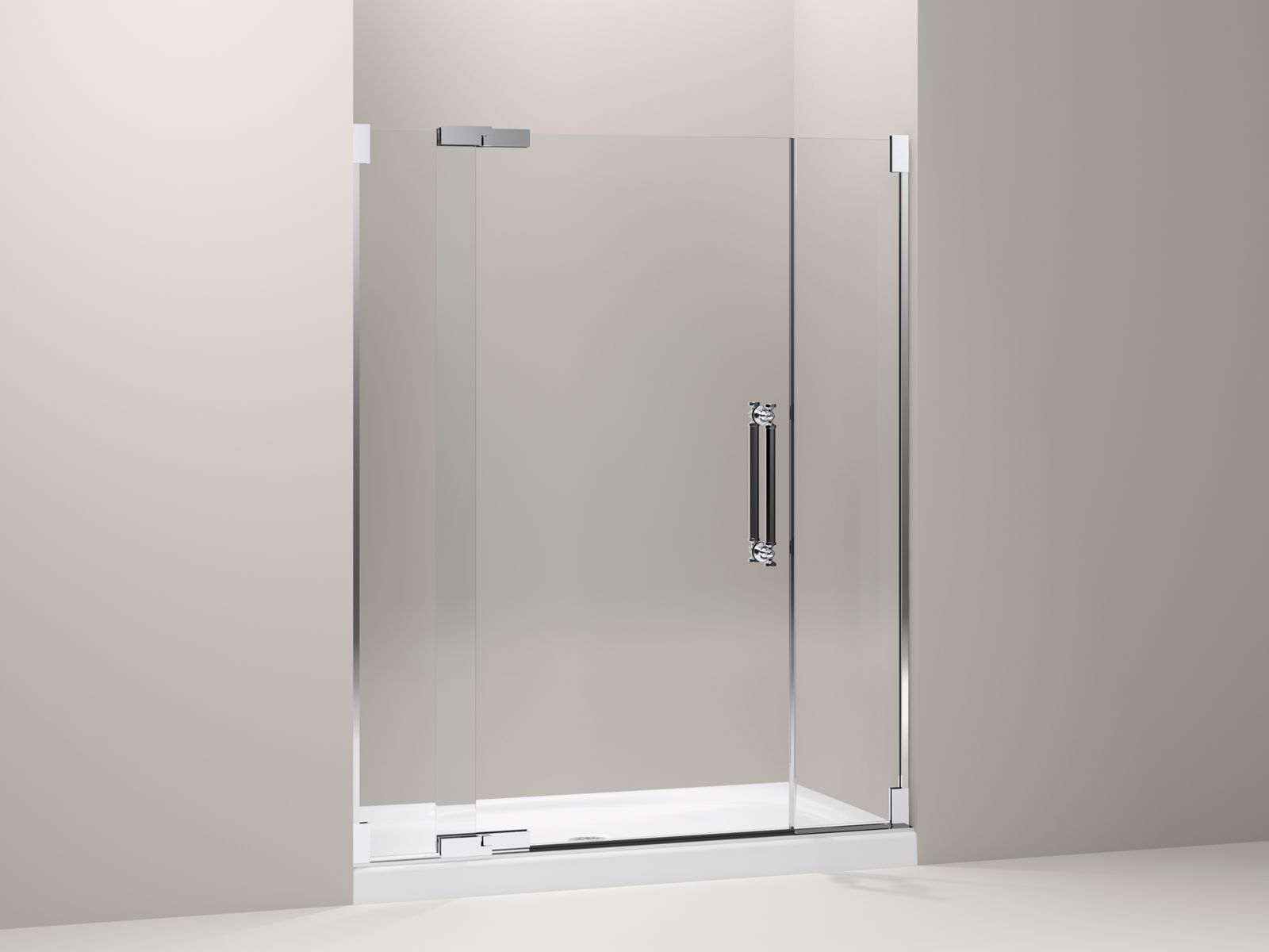 "Pinstripe® frameless pivot shower door with 1/2"" Crystal Clear glass, 57-1/4"" - 59-3/4"" x 72-1/4"""