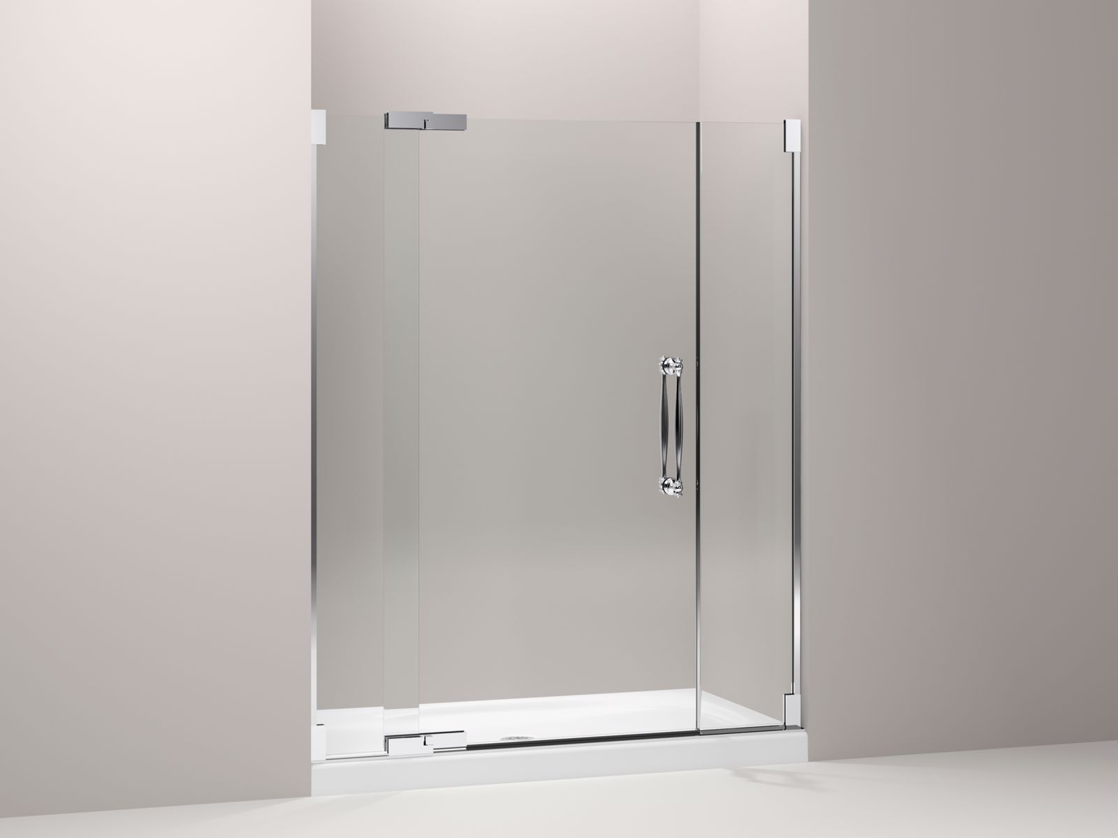 "Finial® frameless pivot shower door with 1/2"" thick Crystal Clear glass, 57-1/4"" - 59-3/4"" x 72-1/4"""
