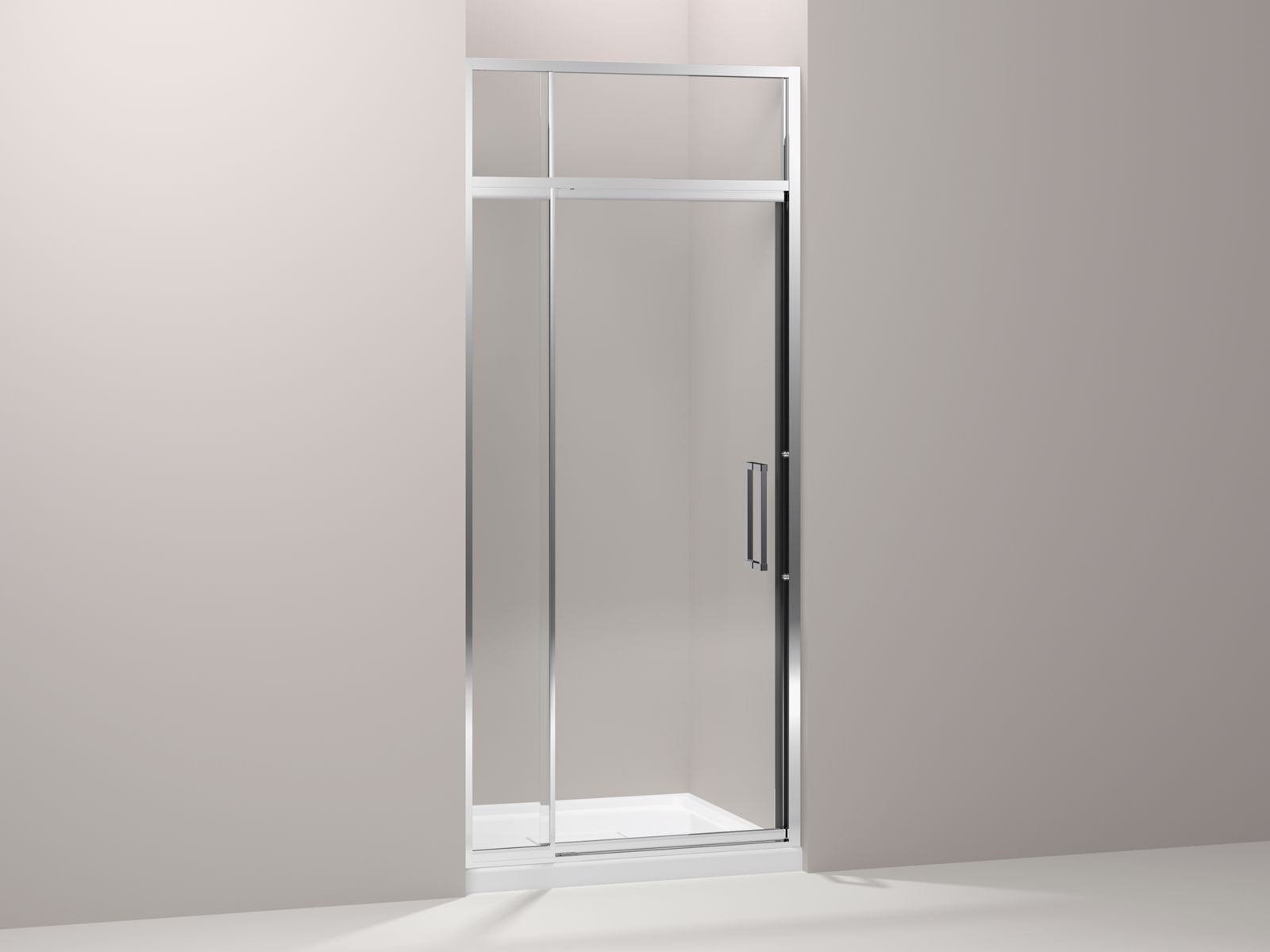 "Lattis® semi-frameless pivot shower door with sliding steam transom with 3/8"" thick Crystal Clear glass, 36"" - 39"" x 89-1/2"""