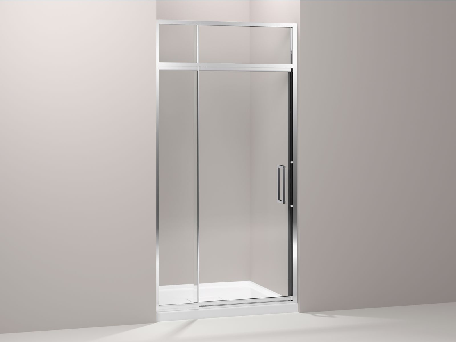 "Lattis® semi-frameless pivot shower door with sliding steam transom with 3/8"" thick Crystal Clear glass, 39"" - 42"" x 89-1/2"""