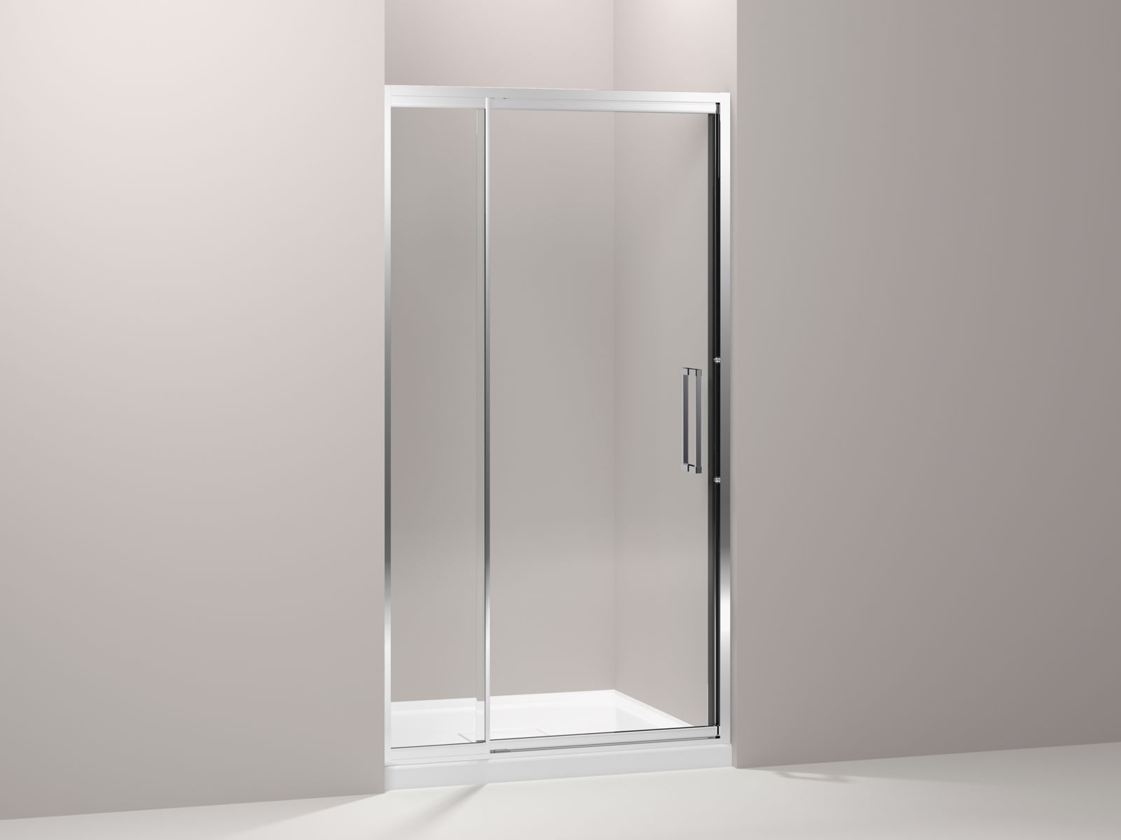 "Lattis® semi-frameless pivot shower door with 3/8"" thick Crystal Clear glass, 39"" - 42"" x 76"""
