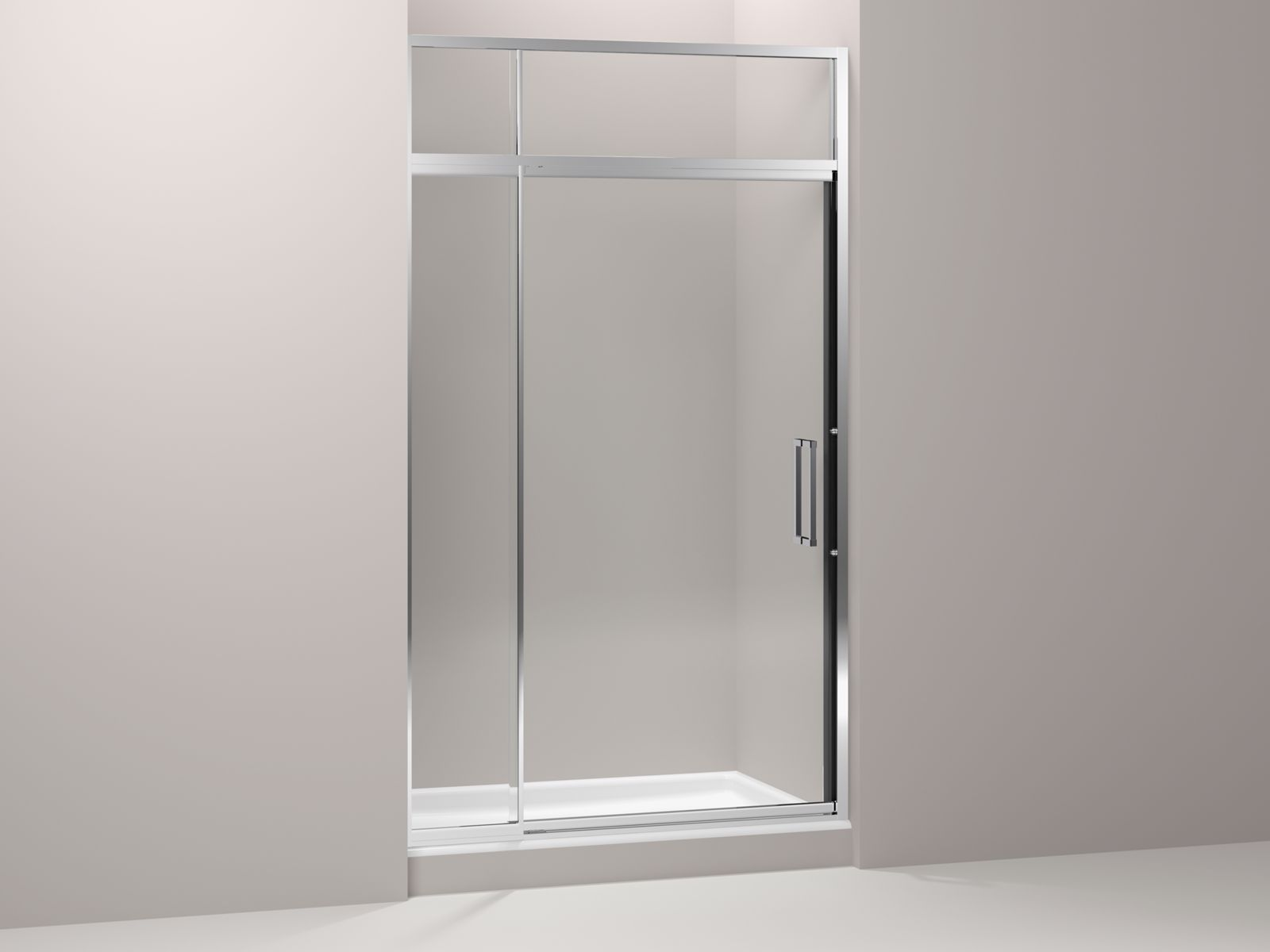"Lattis® semi-frameless pivot shower door with sliding steam transom with 3/8"" thick Crystal Clear glass, 45"" - 48"" x 89-1/2"""