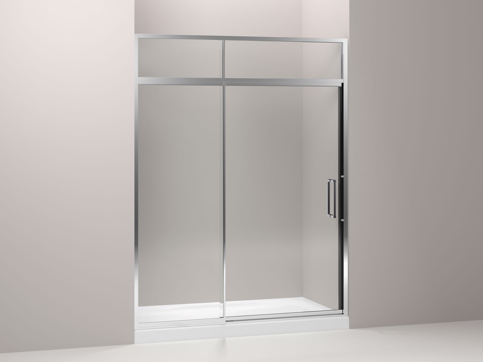"Lattis® semi-frameless pivot shower door with sliding steam transom with 3/8"" thick Crystal Clear glass, 57"" - 60"" x 89-1/2"""