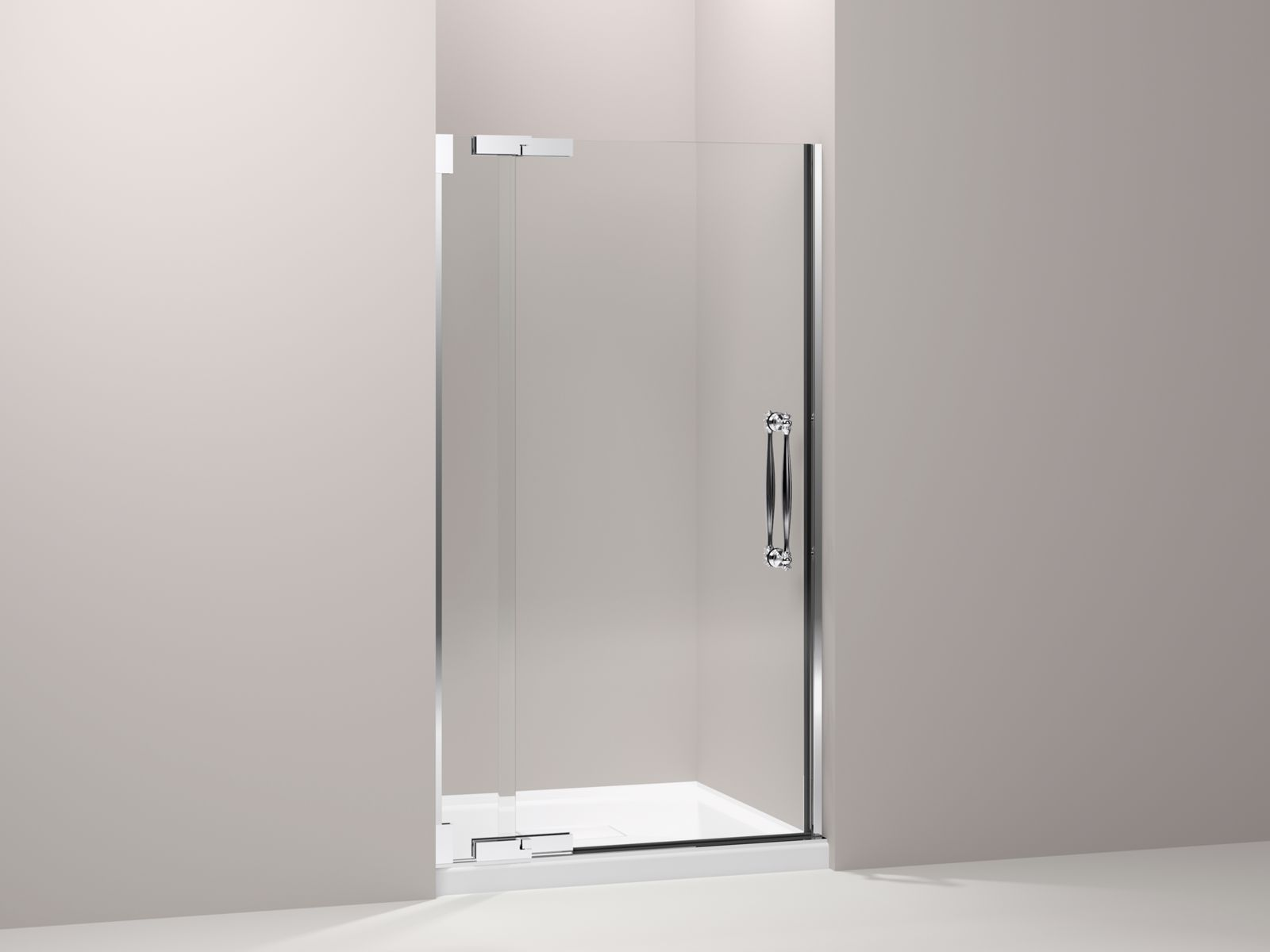"Finial® frameless pivot shower door with 3/8"" thick Crystal Clear glass, 39-1/4"" - 41-3/4"" x 72-1/4"""