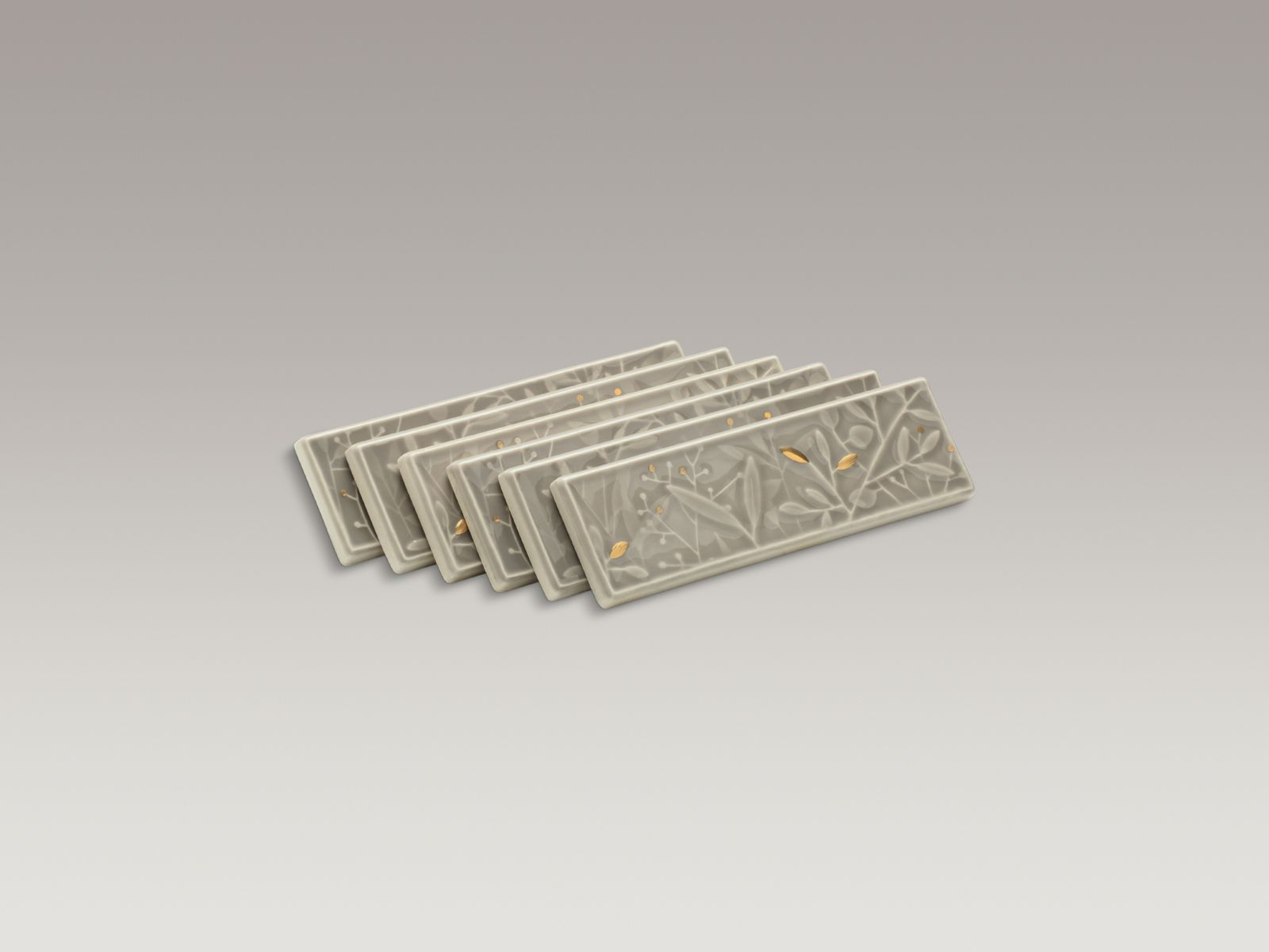 Gilded Meadow™ decorative tile (set of 6) with gold accents