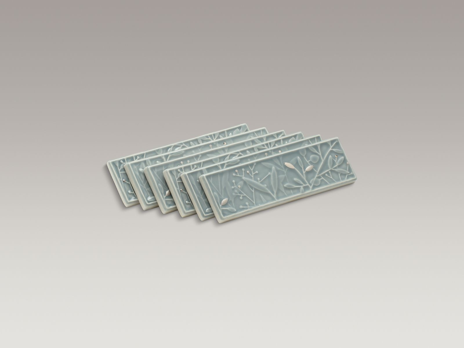 Gilded Meadow™ decorative tile (set of 6) with platinum accents