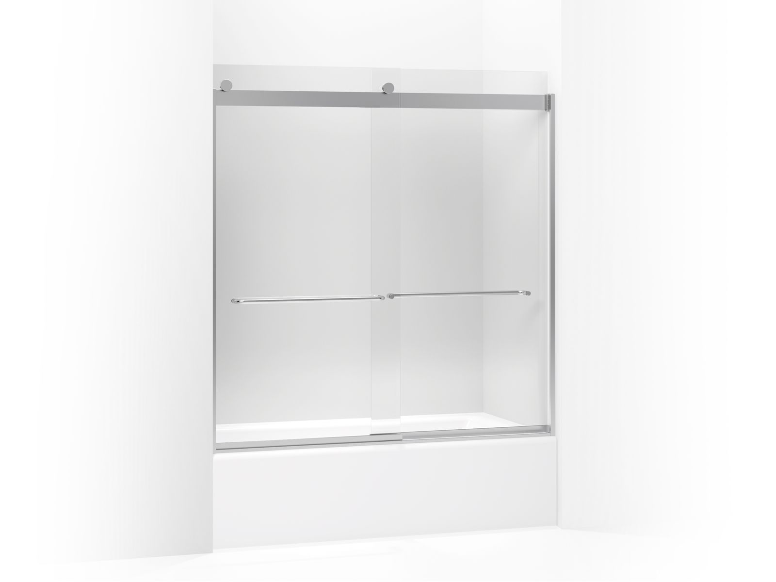"Levity™ Sliding bath door with towel bar and 1/4"" crystal clear glass"