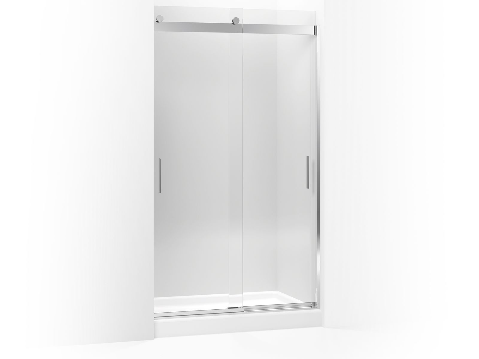 "Levity™ Sliding shower door with handle and 3/8"" crystal clear glass"