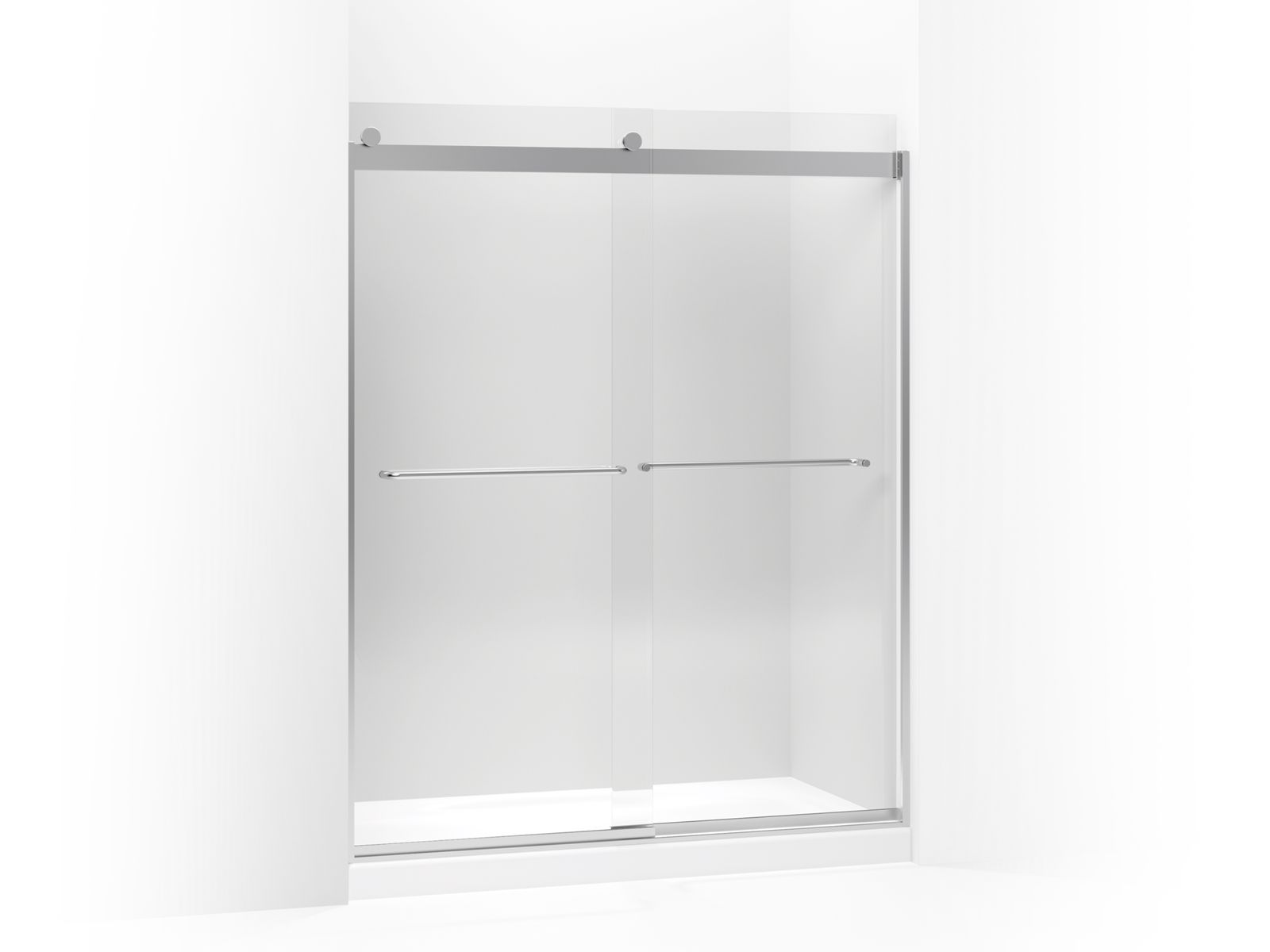 "Levity™ Sliding shower door with towel bar and 1/4"" crystal clear glass"