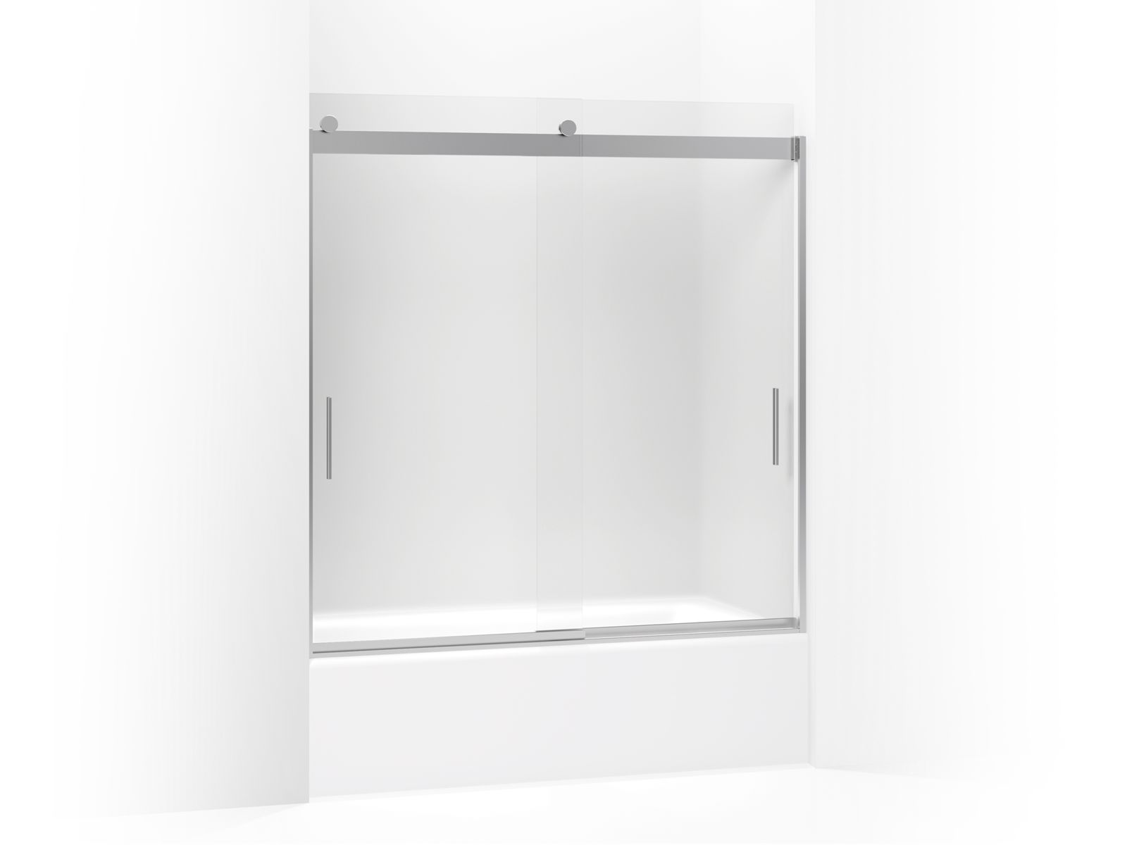 "Levity™ Sliding bath door with handle and 1/4"" frosted glass"
