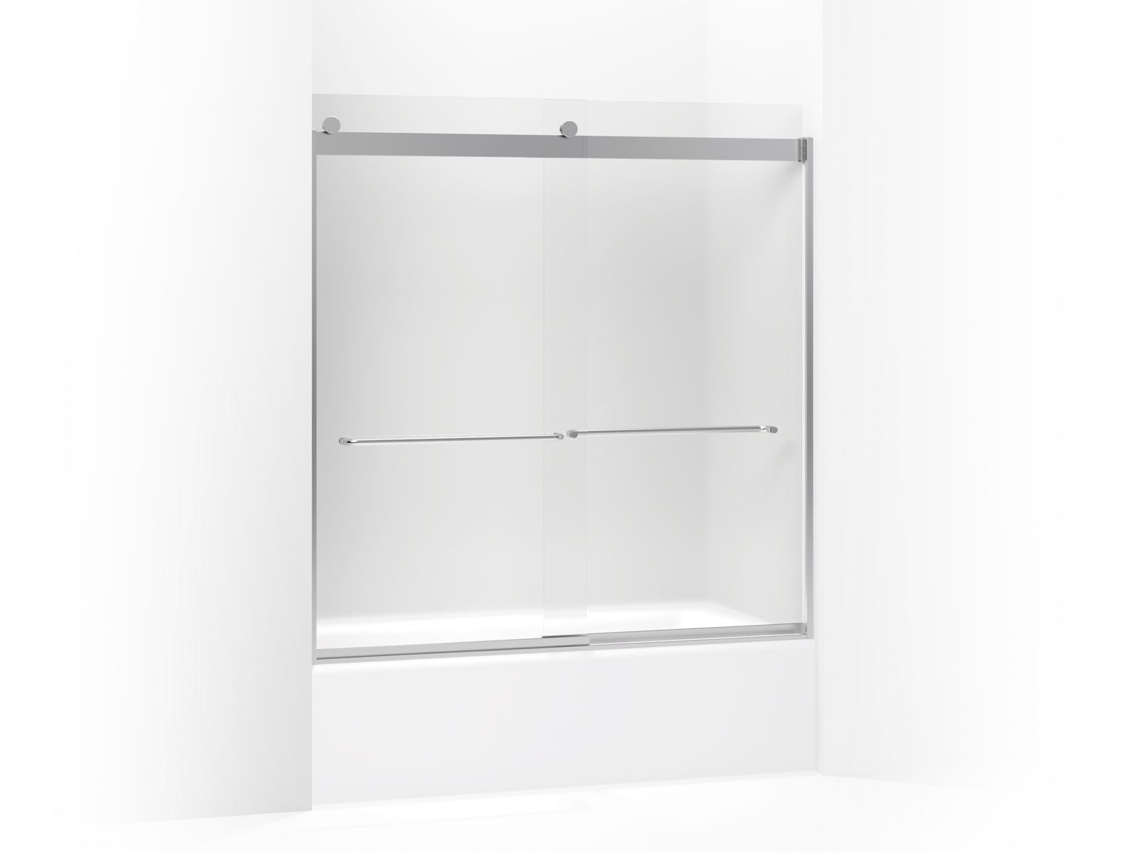 "Levity™ Sliding bath door with towel bar and 1/4"" frosted glass"