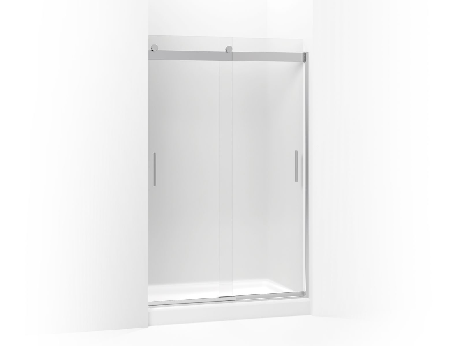 "Levity™ Sliding shower door with handle and 1/4"" frosted glass"
