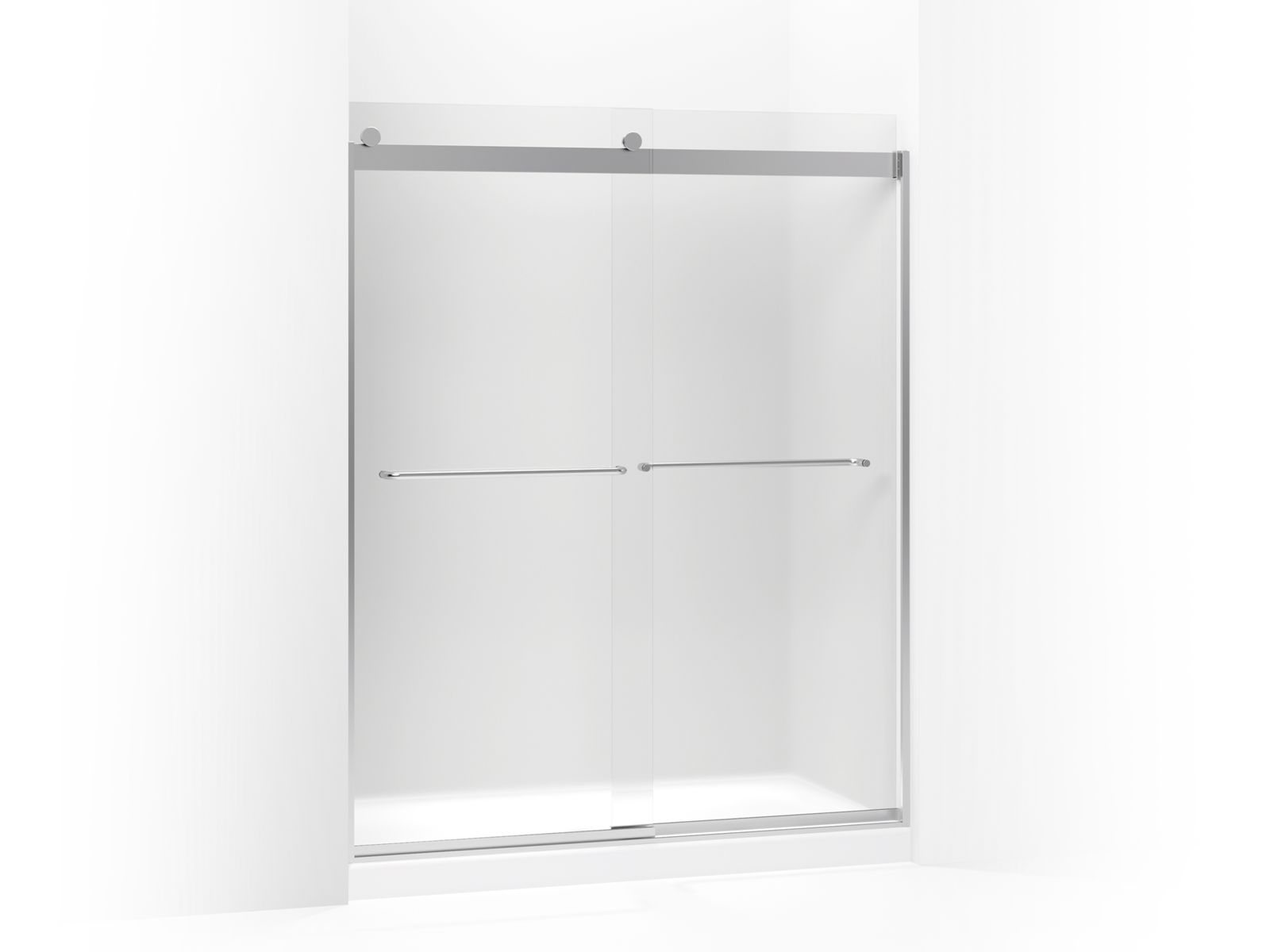 "Levity™ Sliding shower door with towel bar and 1/4"" frosted glass"