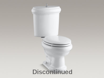 Revival® two-piece elongated 1.6 GPF toilet seat, Polished Chrome flush actuator and trim, and Insuliner® tank liner