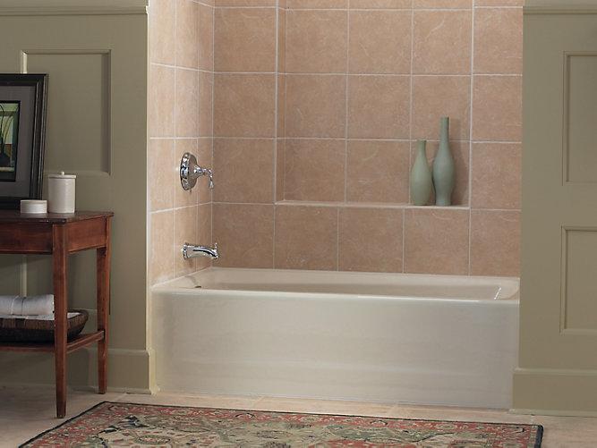 Mendota 60 x 32 alcove bath with left hand drain k 505 for Alcove bathtub dimensions