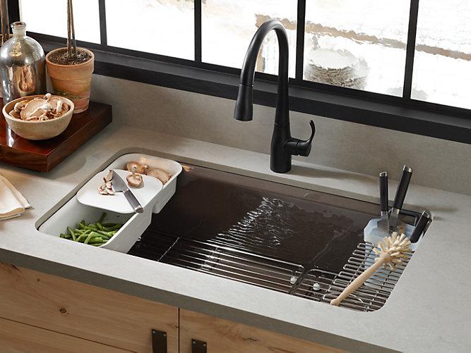 K 5871 5ua3 riverby under mount kitchen sink with - Kitchen sink pieces ...