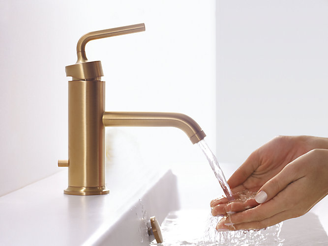 Discount Bathroom Faucets Polished Brass Pull Out Sprary Gold: Purist Single-Control Sink Faucet With Lever